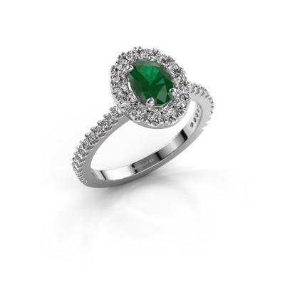 Foto van Verlovingsring Jorinda 2 585 witgoud smaragd 7x5 mm