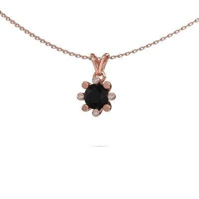 Foto van Hanger Carola 2 375 rosé goud zwarte diamant 0.96 crt
