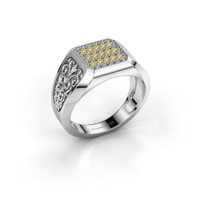 Foto van Heren ring Amir 925 zilver gele saffier 1.4 mm
