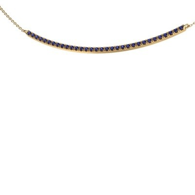 Bar ketting Simona 375 goud saffier 1.5 mm
