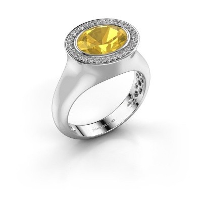 Ring Phebe 925 silver yellow sapphire 10x8 mm
