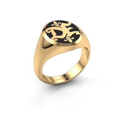 Monogram ring Xandro Emaille 375 goud zwarte emaille