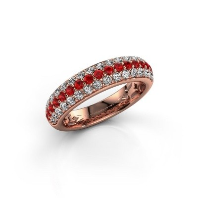 Foto van Ring Emely 6 375 rosé goud robijn 1.7 mm