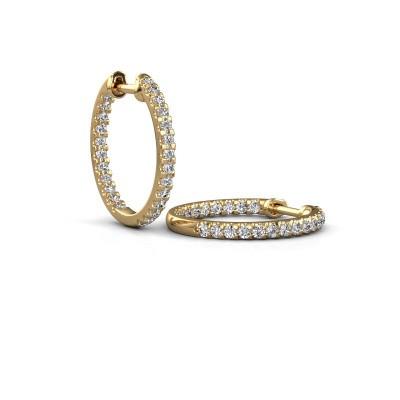 Picture of Hoop earrings Jackie 15 mm B 375 gold zirconia 2 mm