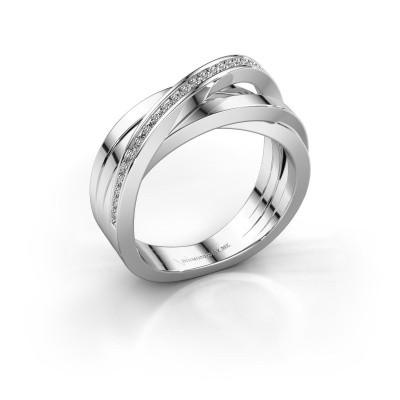 Foto van Ring Britt 585 witgoud zirkonia 1 mm