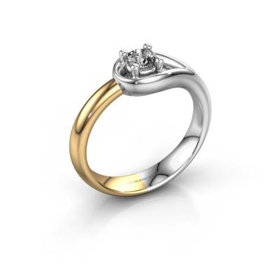 Ring Fabienne 585 witgoud zirkonia 4 mm