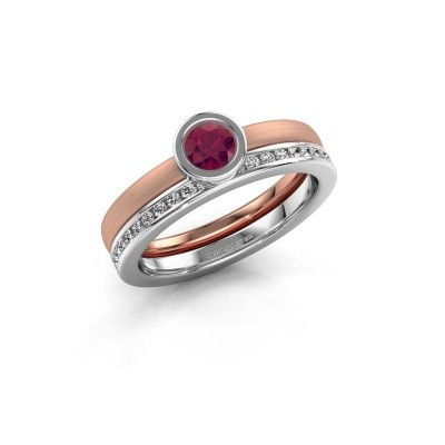 Foto van Ring Cara 585 rosé goud rhodoliet 4 mm