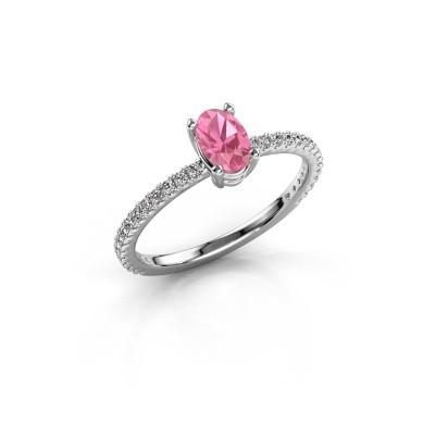 Foto van Verlovingsring Lynelle 2 585 witgoud roze saffier 6x4 mm