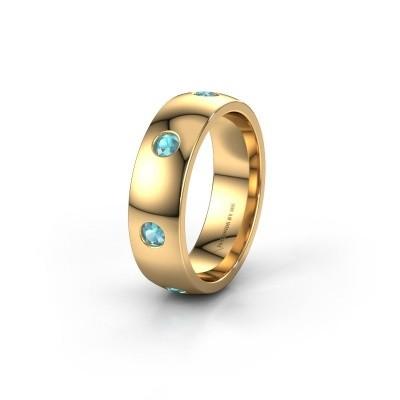 Wedding ring WH0105L26BP 375 gold blue topaz ±0.24x0.08 in