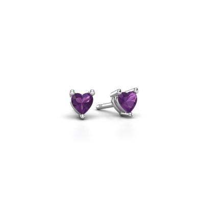 Picture of Stud earrings Garnet 925 silver amethyst 4 mm