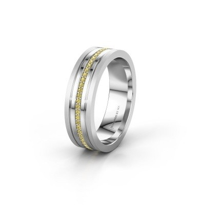 Wedding ring WH0404L16A 950 platinum yellow sapphire ±0.24x0.07 in