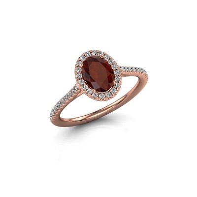 Engagement ring Seline 2 375 rose gold garnet 7x5 mm