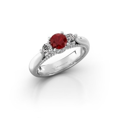 Photo de Bague de fiançailles Tiffani 585 or blanc rubis 5 mm