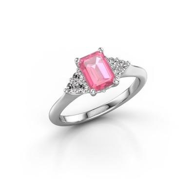 Foto van Verlovingsring Felipa EME 585 witgoud roze saffier 7x5 mm