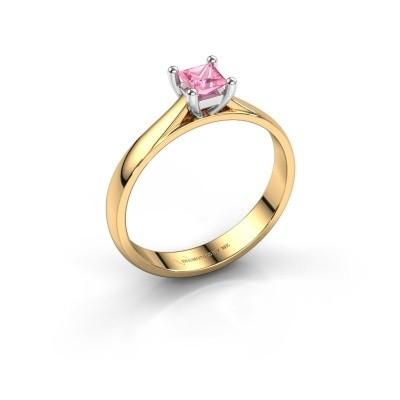 Verlobungsring Sam Square 585 Gold Pink Saphir 4 mm