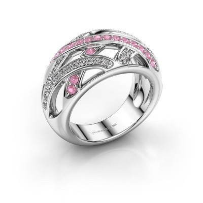 Ring Yinthe 585 white gold pink sapphire 1.5 mm