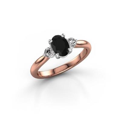 Foto van Verlovingsring Lieselot OVL 585 rosé goud zwarte diamant 0.89 crt
