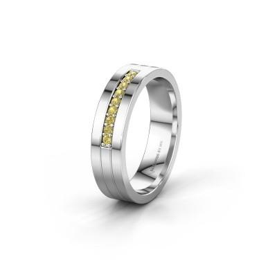 Trouwring WH0413L15AP 925 zilver gele saffier ±5x1.7 mm