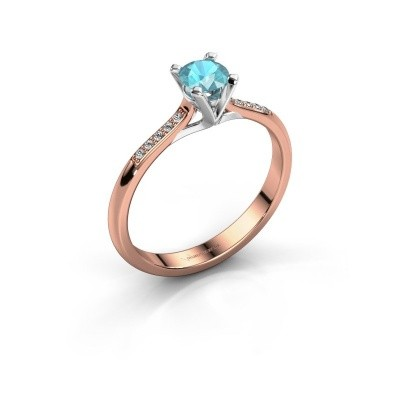 Picture of Engagement ring Isa 2 375 rose gold blue topaz 4.2 mm