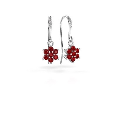 Picture of Drop earrings Dahlia 2 950 platinum ruby 2.2 mm