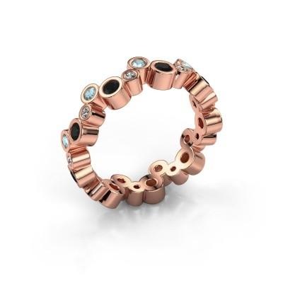 Foto van Ring Tessa 375 rosé goud zwarte diamant 0.783 crt