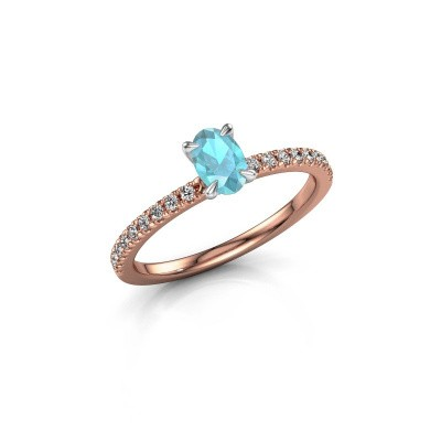 Picture of Engagement ring Crystal OVL 2 585 rose gold blue topaz 6x4 mm