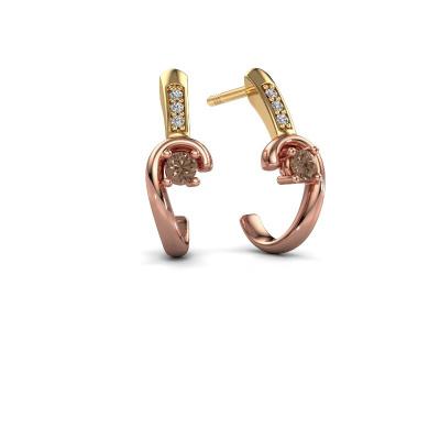 Oorbellen Ceylin 585 rosé goud bruine diamant 0.16 crt