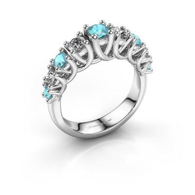 Engagement ring Fatima 950 platinum blue topaz 3.7 mm