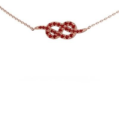 Bar ketting Infinity 1 375 rosé goud robijn 1.1 mm