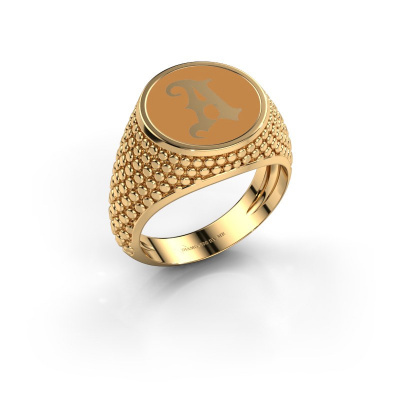 Monogramm Ring Zachary 585 Gold Gelber Emaille