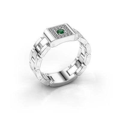 Foto van Rolex stijl ring Giel 585 witgoud smaragd 2.7 mm