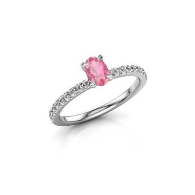 Bild von Verlobungsring Crystal OVL 2 585 Weißgold Pink Saphir 6x4 mm