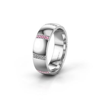 Trouwring WH2124L26B 925 zilver roze saffier ±6x2 mm