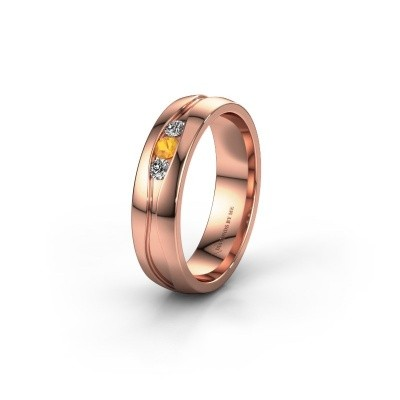 Wedding ring WH0172L25A 375 rose gold citrin ±5x1.7 mm