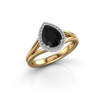 Foto van Verlovingsring Verla pear 1 585 goud zwarte diamant 1.397 crt