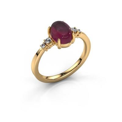 Ring Jelke 585 gold rhodolite 8x6 mm