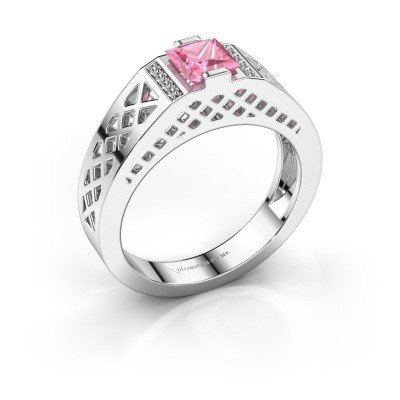 Foto van Heren ring Jonathan 375 witgoud roze saffier 5 mm