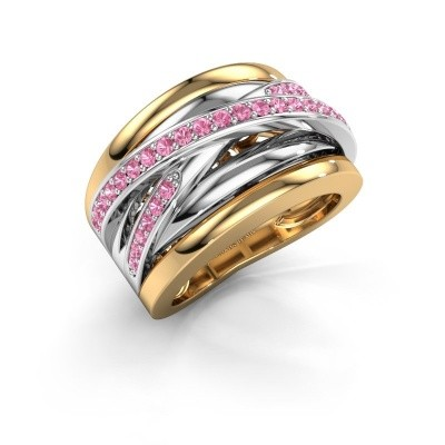 Foto van Ring Clair 3 585 goud roze saffier 1.5 mm