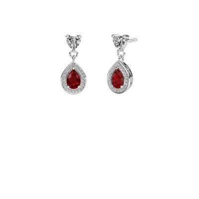 Drop earrings Susannah 950 platinum ruby 6x4 mm