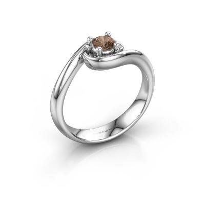 Ring Linn 585 witgoud bruine diamant 0.25 crt