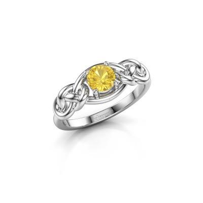 Foto van Ring Zoe 925 zilver gele saffier 5 mm
