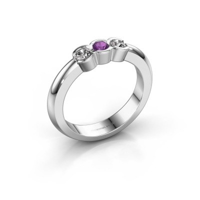 Picture of Engagement ring Lotte 3 925 silver amethyst 3 mm