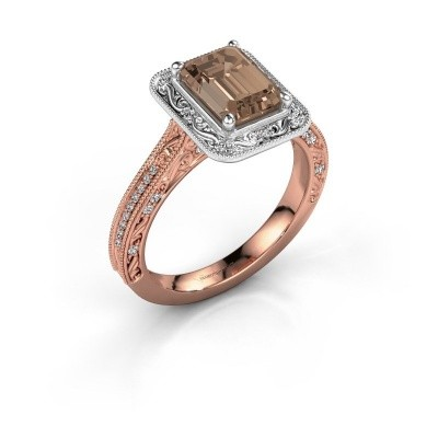 Bague de fiançailles Alice EME 585 or rose diamant brun 1.255 crt