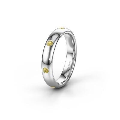 Trouwring WH0105L34BP 925 zilver gele saffier ±4x2 mm