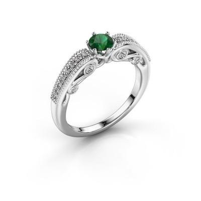 Verlovingsring Christeen 585 witgoud smaragd 4.2 mm