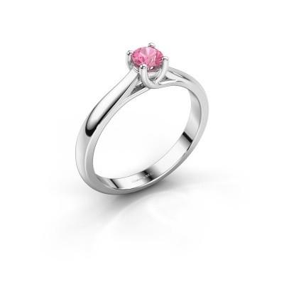 Foto van Verlovingsring Mia 1 950 platina roze saffier 4 mm