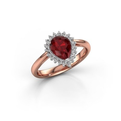 Engagement ring Tilly per 1 585 rose gold ruby 8x6 mm