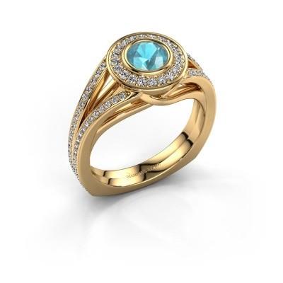 Foto van Ring Kellee 375 goud blauw topaas 5 mm