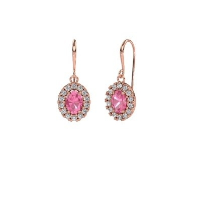 Drop earrings Jorinda 1 375 rose gold pink sapphire 7x5 mm