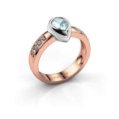 Ring Charlotte Pear 585 Roségold Aquamarin 8x5 mm